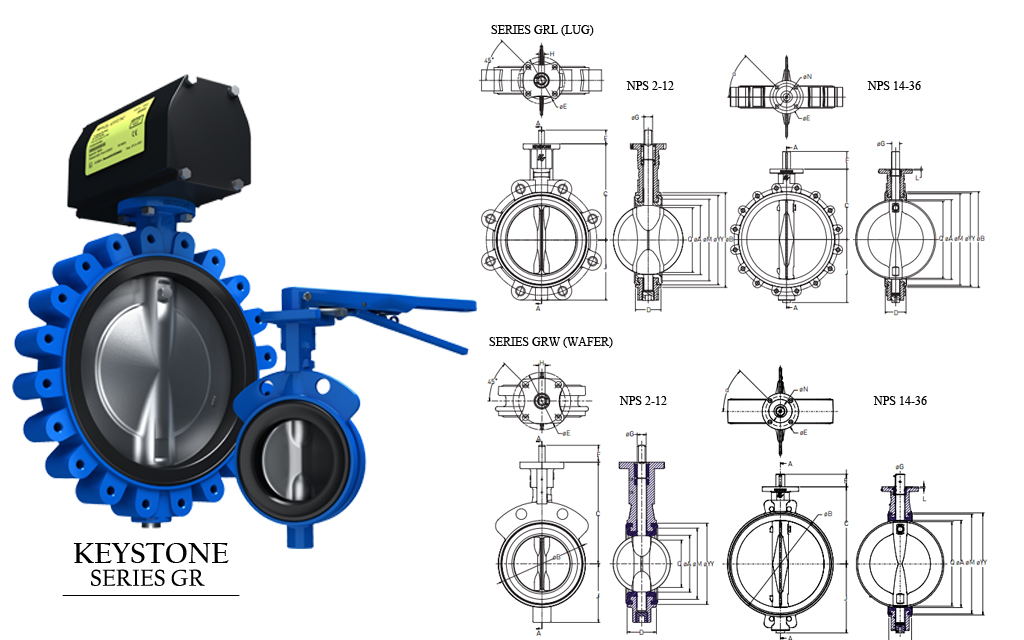 Keystone Resilient Seated Butterfly Valves.